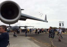 The RAAF Routlettes framed in the winglet of the C-17A (while people look the other way)