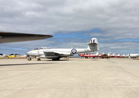 Temora Aviation Museum's Gloster Meteor F.8 shares the Pt.Cook ramp with RAAF Roulettes PC-9As