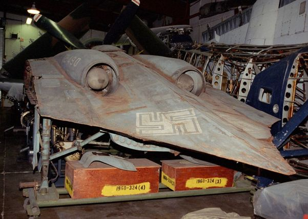 The striking effluxes and trailing edge of the Horten Ho.229 flying wing fighter, preserved by the NASM in Washington DC. While some consider this an early stealth fighter, I suspect it was just slippery and had a low radar signature as a result. (NASM photo, via wikipedia)