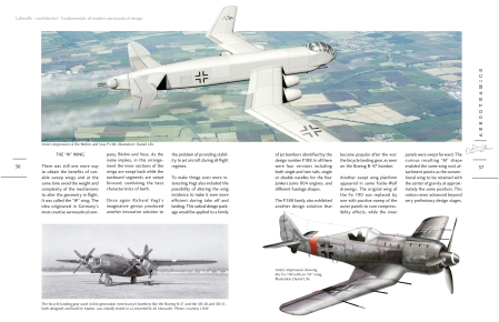 A spread from Luftwaffe Confidential, showing some of the wing planforms Nazi scientists experimented with for various reasons.
