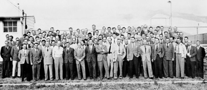 A group of 104 German rocket scientists at Fort Bliss, Texas, in January 1946, as part of the OSS's transhipment of brainpower code-named 'Operation Paperclip' (via wikipedia)