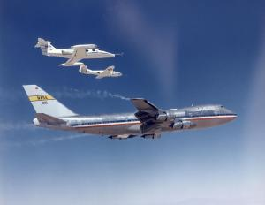 A NASA Flight Research Centre Learjet, Cessna T-37 and Boeing B-747 highlight the standard form for aircraft almost since time began. The chase aircraft are probing the tip vortices of the 747 during research conducted by NASA in September 1974. NASA Photo (ECN-4243)