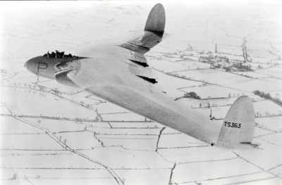 The smooth, white surfaces of TS 363 blend into the snow covered Warwickshire countryside, during a sortie out of RAF Bitteswell.