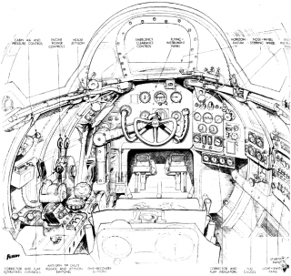 Flight magazine's illustration of the A.W.52 cockpit, from the Jan 15, 1948 issue. Note the smaller wheel for nosewheel steering.