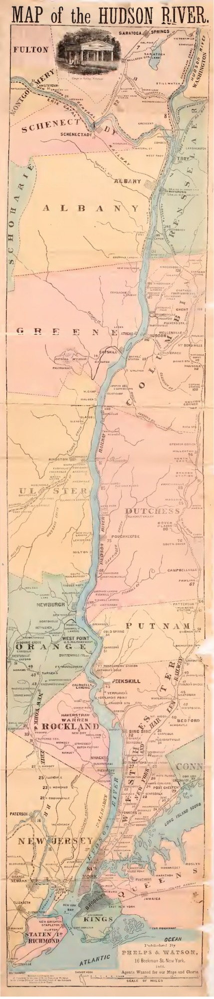 1868 strip map of the Hudson River Valley