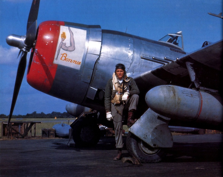 'Fighter Pilot' page 210, a 56th FG, 8th AF pilot with his P-47 Thunderbolt.