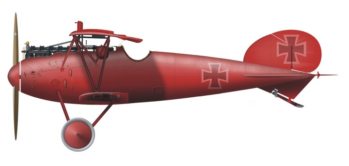"""There was nothing on that plane that wasn't red."" Profile artwork of von Richthofen's all-red Albatros D.Va, in which he attacked Cunnell and Woodbridge on July 6th, 1917. (B. Huber CC-BY-SA 3.0, via wikipedia)"