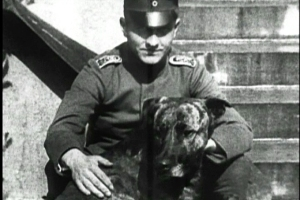 Red Baron and pet dog