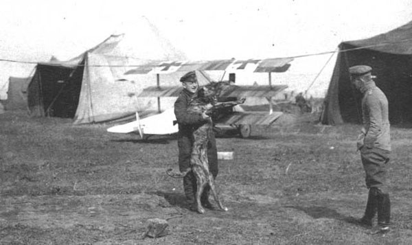 von Richthofen and Moritz, playing in front of a Jasta 11 Dr.1 at Awoingt, France, in March 1918. Ltn. Erich Lowenhardt looks on.