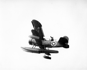 One of the four SOC-3 Seagulls embarked on USS Augusta, identical to (if not actually) the airplane that flew under Sydney Harbour Bridge on October 23rd, 1934. This photo was taken during the Operation Torch landings, North Africa, 1943.   (SDASM 40957476)