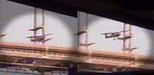 Louise Campbell's Skyfox Gazelle emerges from under the bridge on May 1st, 2004.