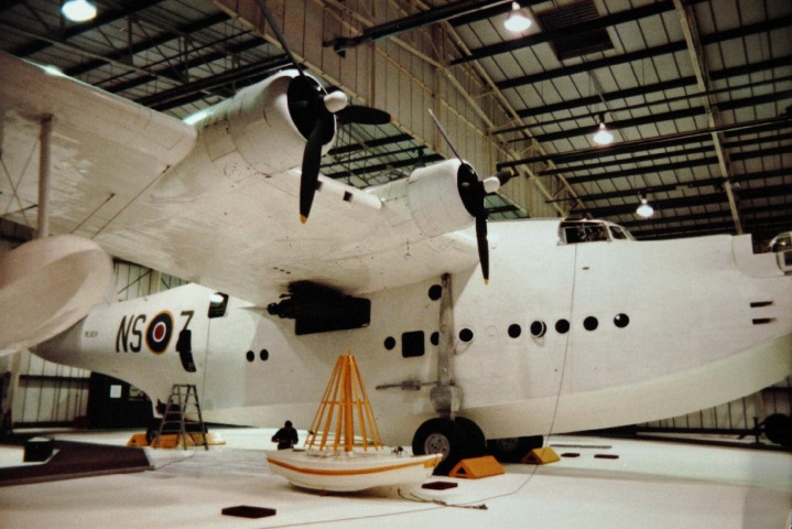 Not the most beautiful flying shot, but perfect for a sense of scale! Short Sunderland ML778 'NS-Z' which flew the last convoy patrol of WW2, being restored at RAF Museum Hendon. (SDASM 01 00087385)