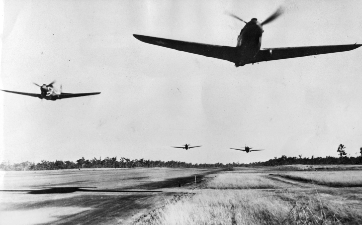 USAAF P-40s launch from an unnamed Australian base in 1942. (Argus newspaper)