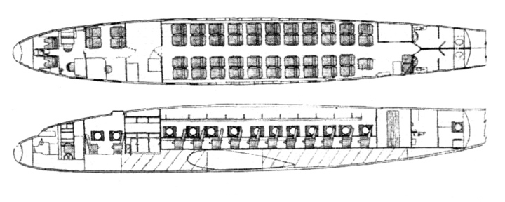 A better (if not clearer) diagram of the L-049 cabin  layout. (Flight magazine)