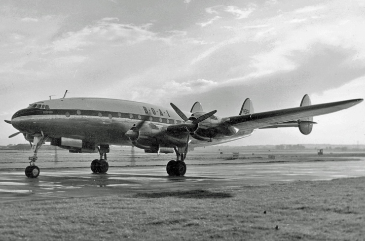 Lockheed C-69C (L-049) Constellation G-AKCE of BOAC arriving at Heathrow North on September 12th, 1954. This aircraft was BOAC's only Connie that was converted from a completed military C69, built at Burbank for the USAAC in 1944. Photo by RuthAS, via wikipedia