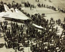 The first pre-production F-111A (s/n 63-9766) during the aircraft rollout ceremony at General Dynamics, Fort Worth, on October 15th, 1964. (SDASM Photo, Cat # 10_0012062)
