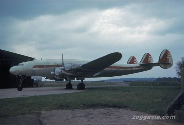 049-1977 at Biggin Hill, UK in April 1961 – still wearing her Capital Airlines colours but now owned by the fledgling Falcon Airways. (Zoggavia.com)