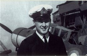 """Jock"" – Sub-Lieutenant John William Charlton Moffat, RN, pictured aboard HMS Ark Royal in 1940."