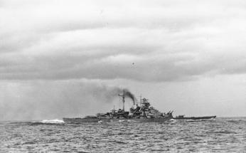 Bismarck enters the Atlantic on May 24th, 1941, following the Battle of Denmark Strait. Two days later, over 2,000 of her crew would be dead. (Deutsches Bundesarchiv Bild 146-1984-055-14)