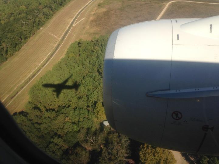 The shadow of return: on final approach to Houston George Bush Intercontinental. (Courtesy of Mark Vanhoenacker)