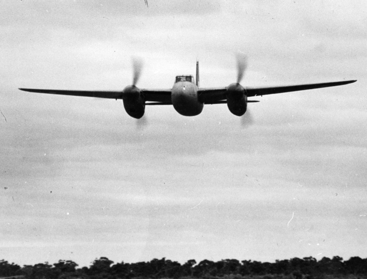With a 1,460hp Merlin spinning counter clockwise on each side (1,620hp Packard Merlins on the FB Mk.26), keeping a Mosquito straight was no easy task - even in the air. (State Library of Victoria H98.100/4295)