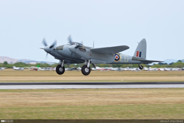 Put her down easy... KA114 lands after her display at Wairarapa. The aircraft is a rebuilt FB (Fighter Bomber) Mk.26, built in Canada for the RCAF in 1945 and taken straight into storage. (Courtesy of Allister Jenks)