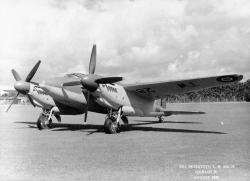 Production Sea Mosquito TR Mk.33 'TW281' in August 1946. Note the reshaped nose is an improved version of the early thimble radome. (IWM ATP 14612B)