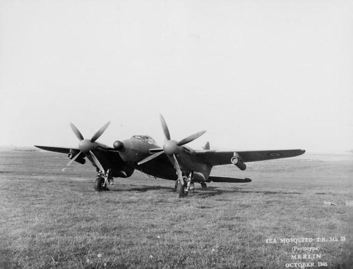 Another view of the Sea Mosquito prototype with its wings out and the four-bladed props in plain view. Outwardly, little else is different, apart from the missing 303s and the radome. (IWM ATP15206B)
