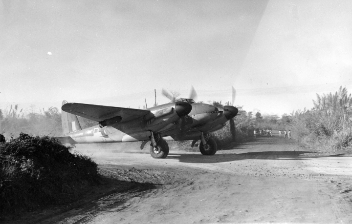 A loaded RAAF Mosquito FB Mk.40 heads off to bite at the Japanese during the Burma campaign. A total of 178 Mk.40s were built in Sydney, by de Havilland Australia. (State Library of Victoria H98.100/1584)