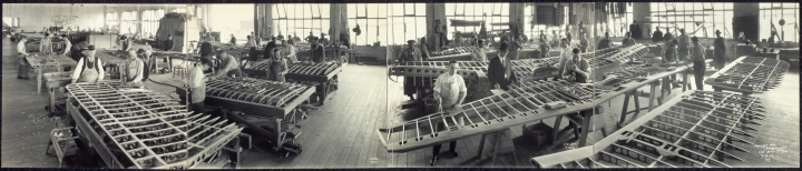 Beautiful panorama of the Wing Room – upstairs in Boeing's historic Red Barn building. Be sure to click the image for a full-sized view. [ Library of Congress P&P Division, PAN SUBJECT – Miscellaneous no. 6 (E size) ]