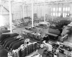 Looking across the Boeing production floor, dated July 31, 1922, with finished and painted MB-3A wings waiting to be mated to assembled fuselages. (SDASM, Ray Wagner Collection. Catalog 16_003254)