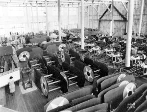 Another view across Boeing's MB-3A assembly room, this one dated August 16, 1922. Note the braced and strutted full=span wings. (SDASM 00025847)