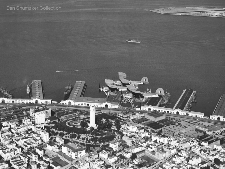 838 Squadron's 2C, 2F and 2B over Coit Tower and the Embarcadero, San Francisco. The runway in the background is the wartime Naval Auxilliary Air Facility on Treasure Island. (Dan Shumaker Collection)