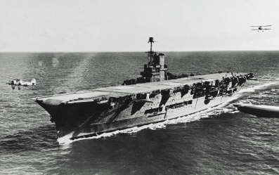 Swordfish in their element – in this case 820 Sqn operating off HMS Ark Royal just before the war. As aircraft No. 845 takes off, another aircraft can be see approaching the straight-through deck.