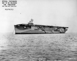 HMS Attacker at anchor in San Francisco Bay on November 13th, 1942, during her trials. Note the Swordfish, wings folded, in front of the 'island'. (US Navy identification photo #7042-42)