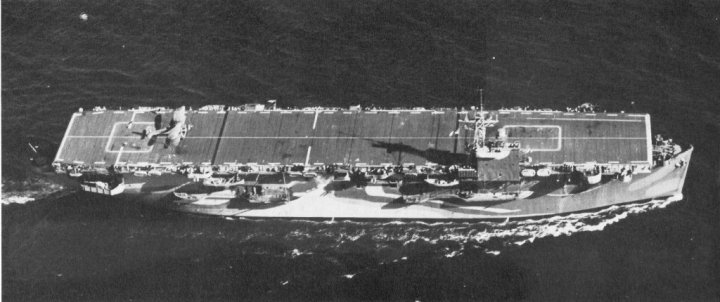 Attacker making way during her trials, with one of the 838 Sqn Swordfish on her flight deck. (USN Photo via navsource.org)