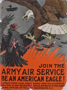 Clash of Eagles... A stunning 1917 recruitment poster for the US Air Service, by noted wildlife illustrator (and taxidermist) Charles Livingston Bull (1874–1932). (Library of Congress P&P LC-DIG-ds-05451)