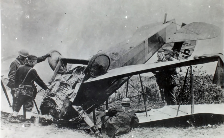 The electrifying SPAD XIII also operated, and crashed, out of Issoudun – although it's less likely Wright would have been entrusted with one so early in his career. (SDASM 01_00088090)