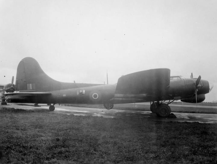 Fortress Mark III, HB796, at Prestwick in Scotland, after having early ECM equipment fitted. The aircraft served with 214 Squadron RAF, and failed to return from a bomber support mission on February 9th, 1945. (IWM ATP 13090E)