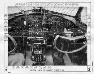 Cockpit diagram for the RAF Fortress IIA, which was essentially a B-17E. (Air Ministry Pilot's Notes)