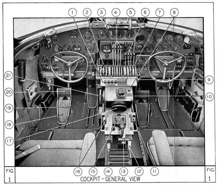The cockpit diagram for a Liberator III (or B-24D). In later Marks, the panel behind the throttle handles was replaced with a Sperry Autopilot. (Air Ministry Pilot's Notes)