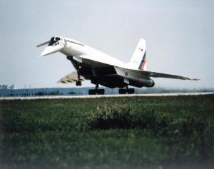 'Concordski' – the Tupolev Tu-144LL takes off from Zhukovsky Air Development Center, near Moscow, in July 1997. (NASA)