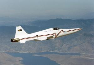 A modified US Navy F-5E flies as a Shaped Sonic Boom Demonstrator for the 2003 – 2004 DARPA Quiet Supersonic Platform research program. (NASA Photo)