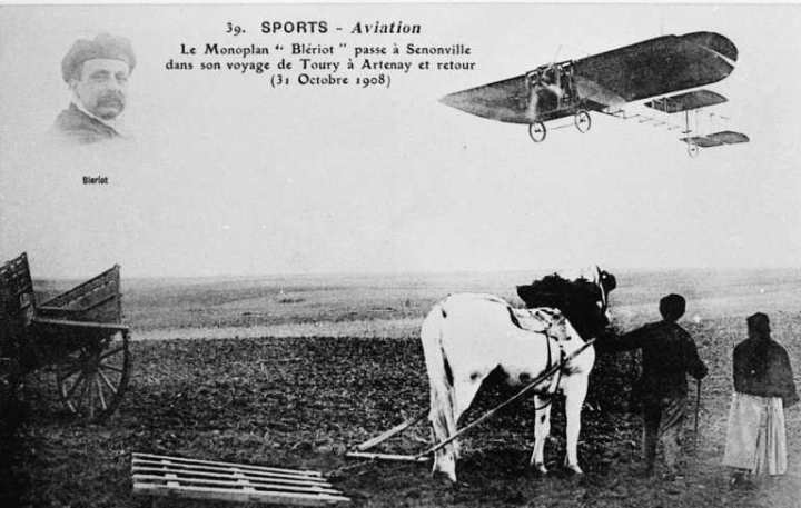 Louis Bleriot flying his Bleriot VIII the 14km from Toury to Artenay and back in October 1908. Note the wingtip roll controls, not dissimilar to the AEA's 'June Bug. (wikipedia)