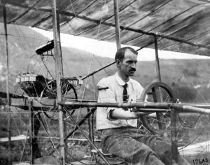 Glenn Curtiss at the controls of the AEA 'June Bug' in 1908. (LoC P&P, 95511645)