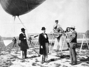 Santos-Dumont climbs from the basket of Airship No.5, after morning trials, 8.10am, July 12th, 1901. (Annual Report of the Smithsonian Inst., 1901)