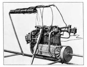 The 4-cylinder, 16HP Dion-Bouton motor of Airship No.5. The motor of No.6 was smaller, and water cooled. (Scientific American, August 10, 1901)