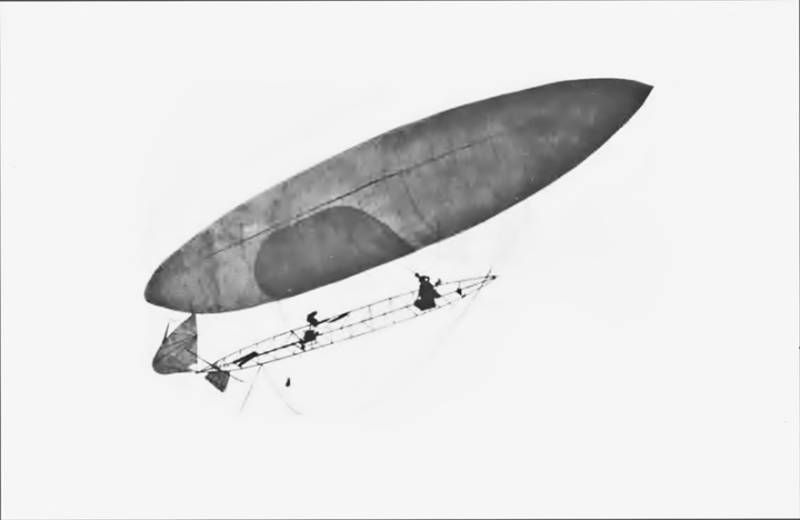 Santos-Dumont and his Airship No.6 en route to the Eiffel Tower – and the 100,000 franc Deutsch Prize – on the afternoon of October 19th, 1901. (Dans l'Air, 1904)