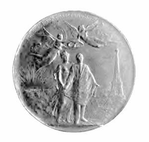 The gold medal awarded to Santos-Dumont by Brazil's government, for winning the Deutsch Prize. (Dans l'Air, 1904)