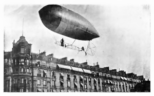 Santos-Dumont's No.9 'Baladeuse' (loosely 'Runabout') of 1903, above the Paris rooftops. (Dans l'Air, 1904)